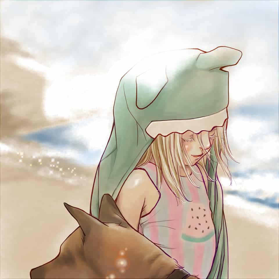 Little Girl with Her Dog Illust of deepseabed littlegirl girl original