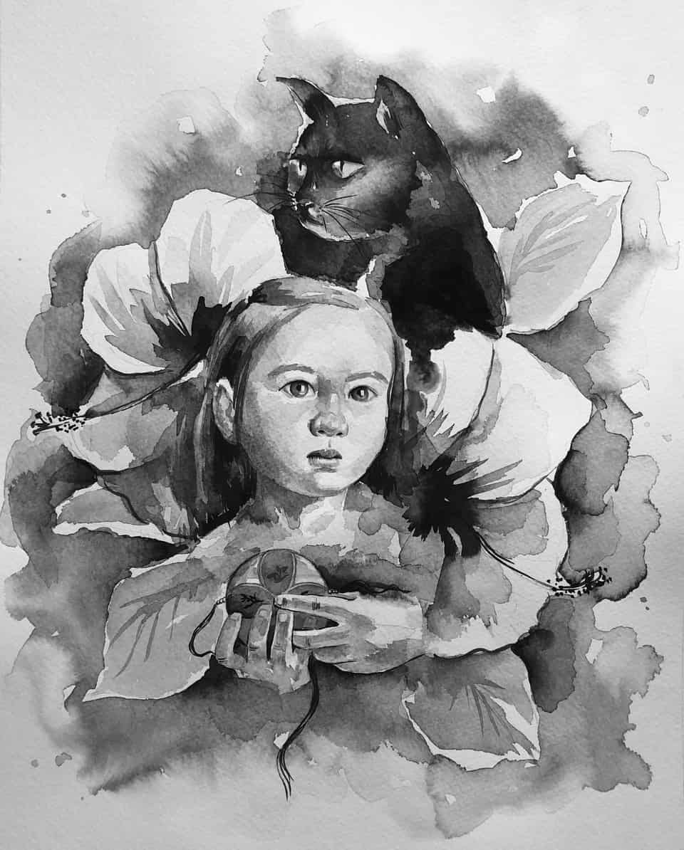 Dream and Hope Illust of Wei Wei.draw DOGvsCAT_CAT girl painting ink cat