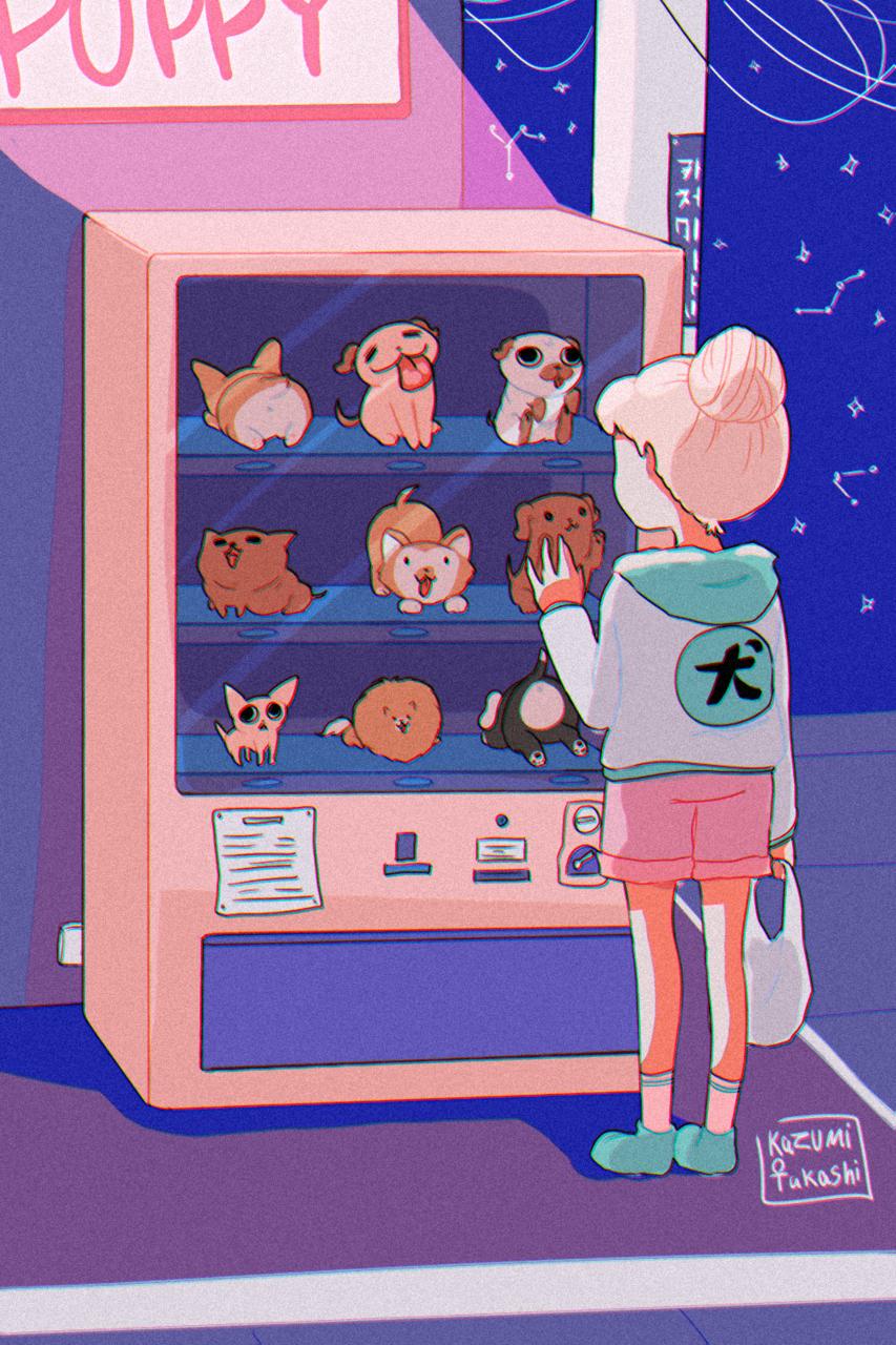 Dog's gacha - Price is LOVE Illust of かずみたかし April.2020Contest:Color DOGvsCAT_DOG machine dog gachapon gacha original