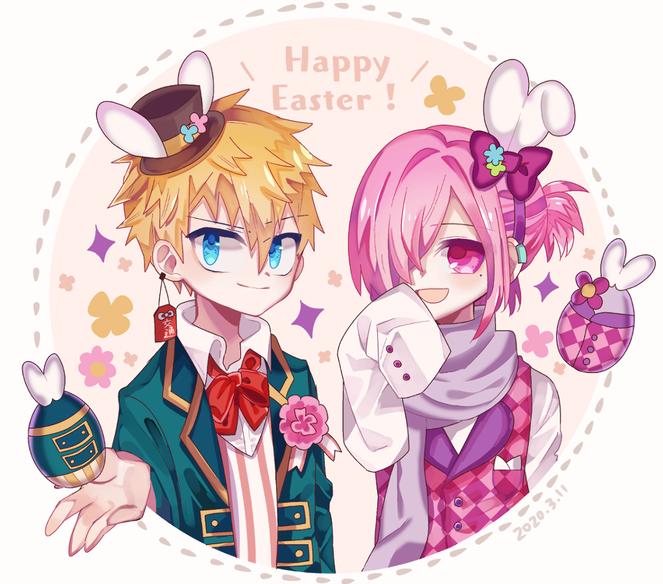 \ Happy Easter!/ Illust of 停止 ミツバ fanfic 源光 Toilet-boundHanako-kun 三葉惣助