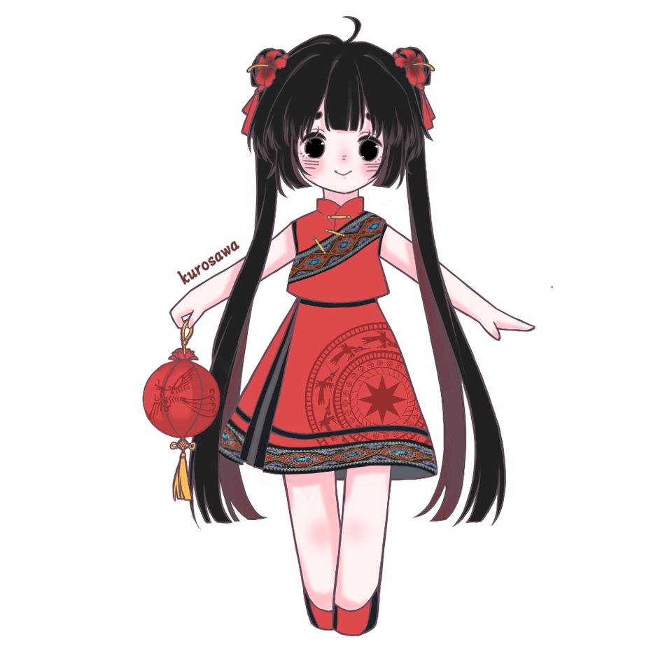 可怜但是很可爱的孩子 Illust of KUROSAWA medibangpaint original ethniccostume 中国风 cute twin_ponytails
