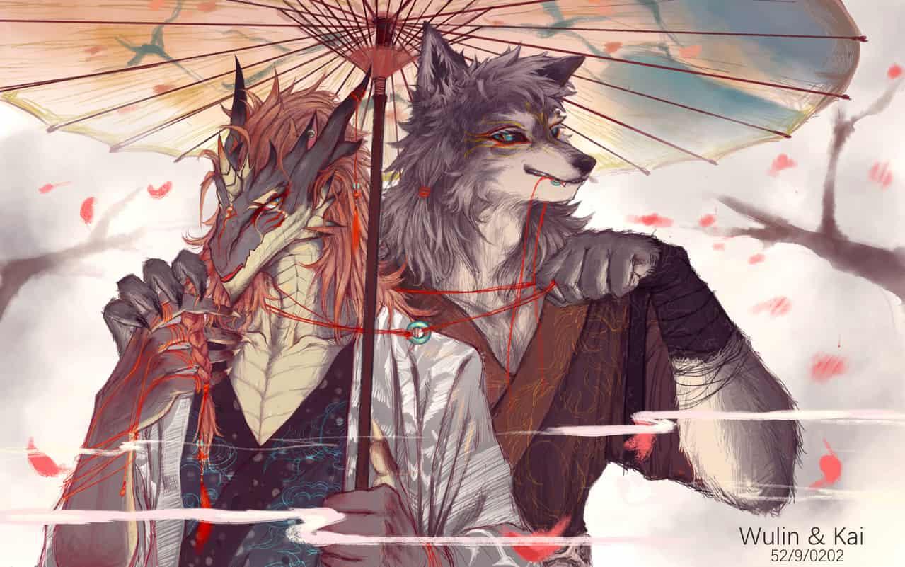 Wulin&Kai Illust of Wulin September2020_Contest:Furry oc wolf dragon