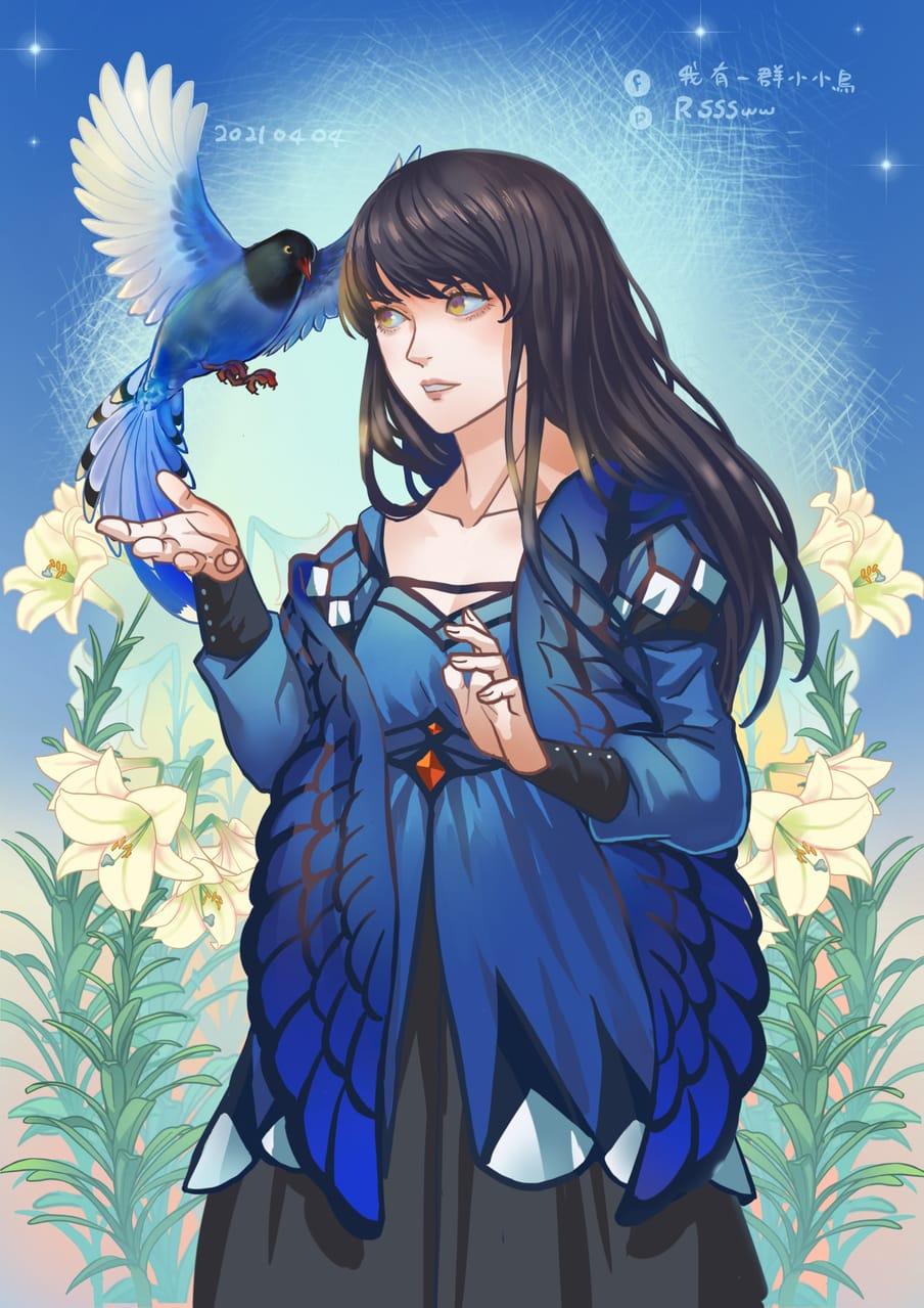 花鳥概念設計 Illust of 飯糰魚 April2021_Flower 原創人物 台灣藍鵲