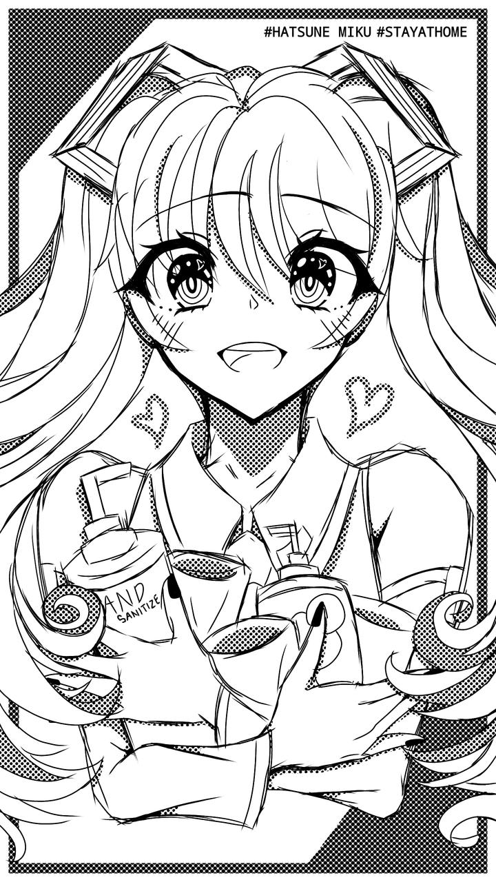 Miku Fight Against Corona 😂 Illust of UNDERDOGS. medibangpaint anime girl Coronavirus VOCALOID miku