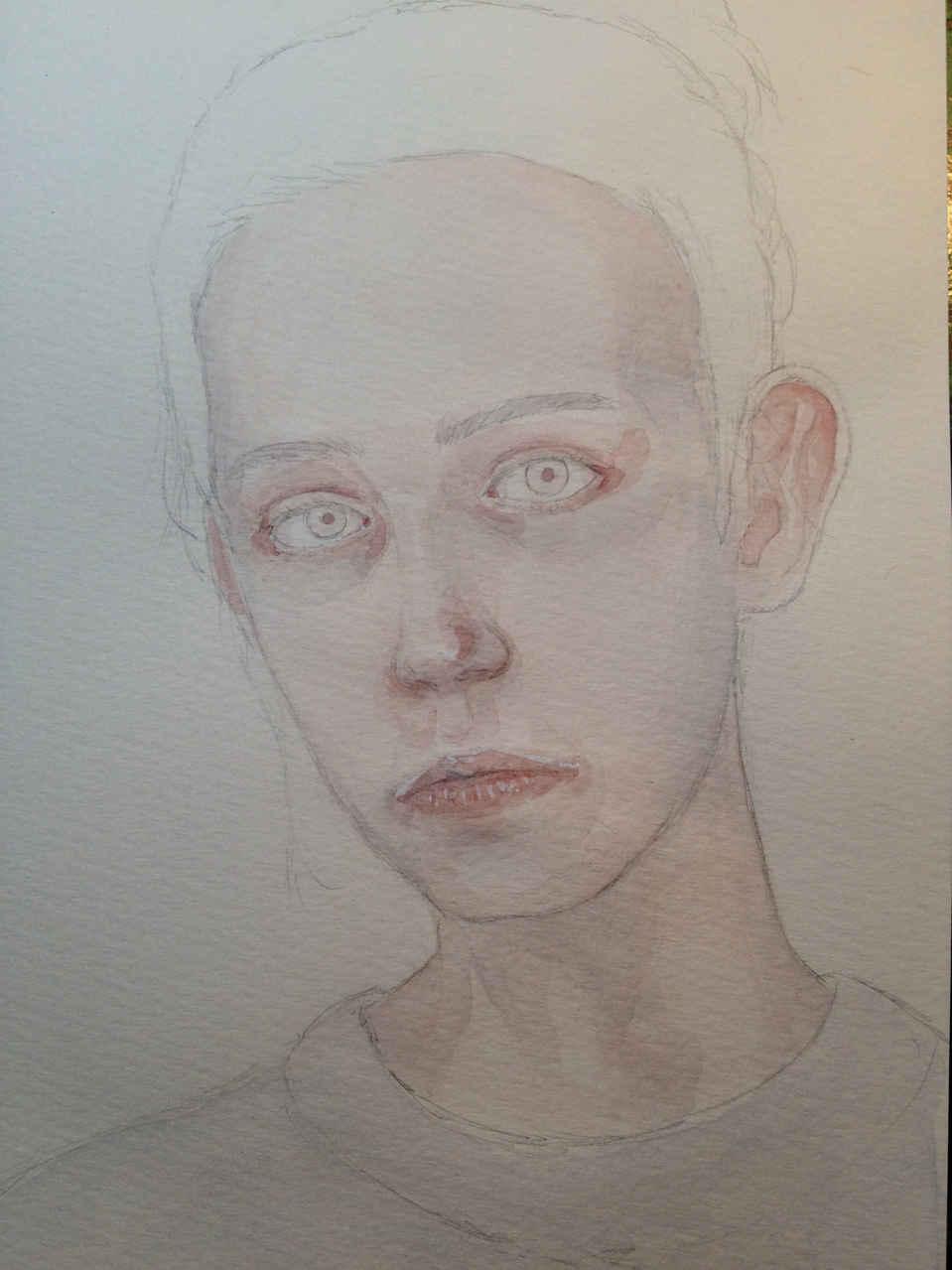 Watercolor portrait Illust of Hard-Jaw drawing girl dessin portrait watercolor aquarelle paint