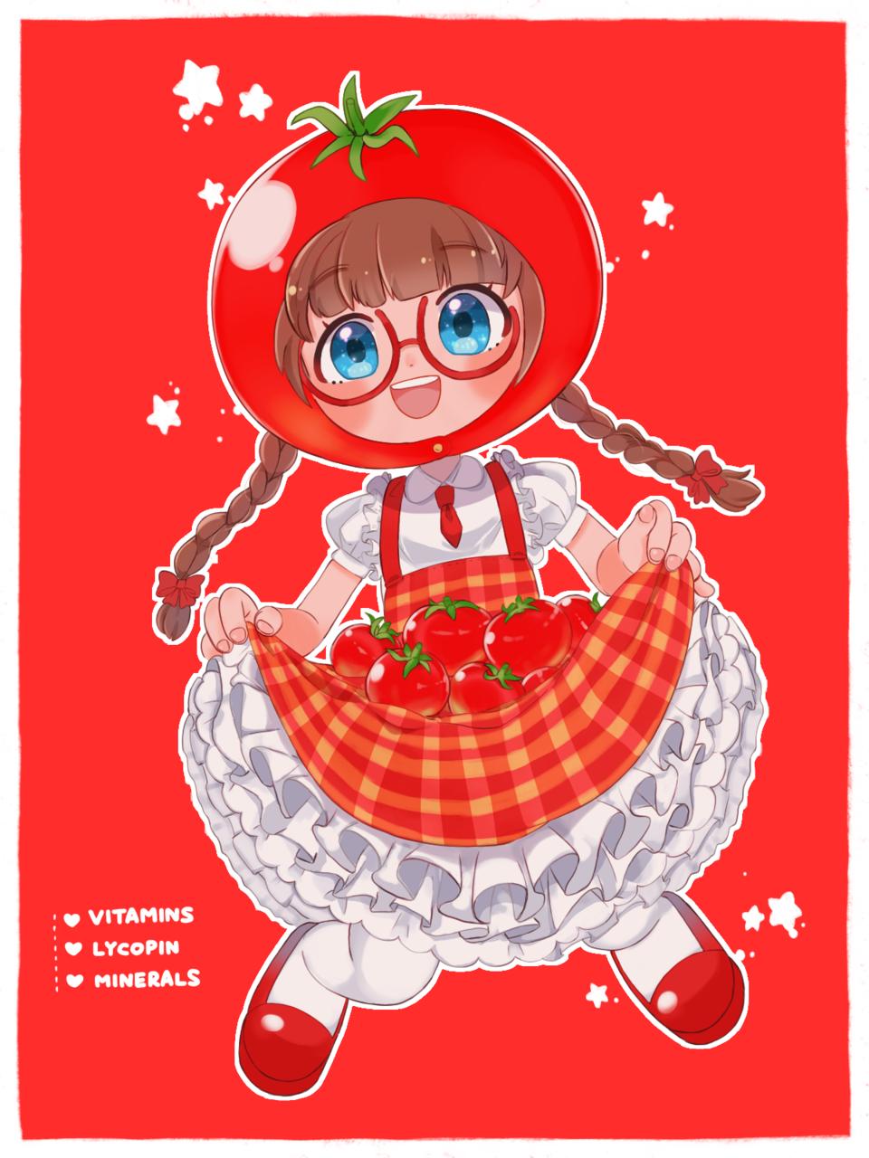 おいしい赤 Illust of proxima ARTstreet_Ranking April.2020Contest:Color glasses girl red 三つ編み トマト original
