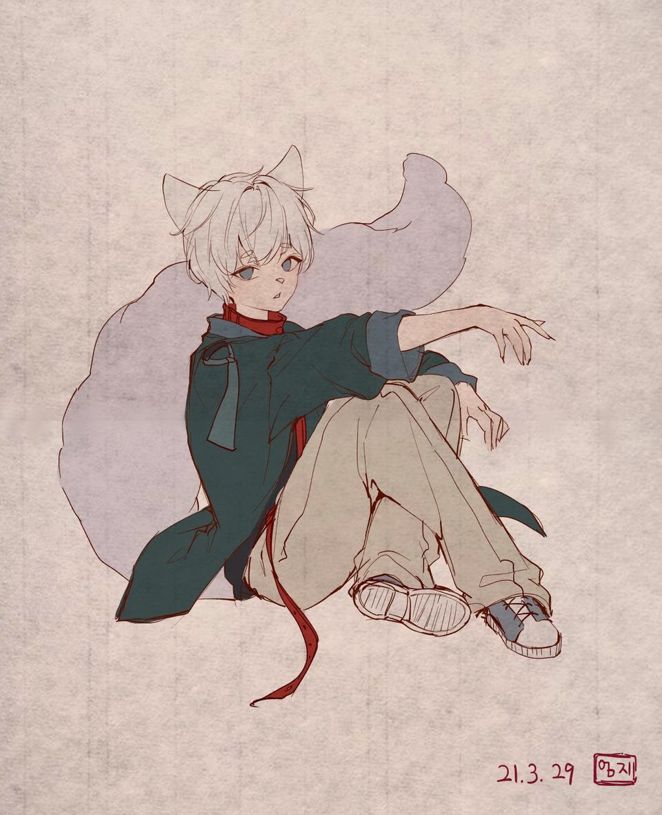동양풍 하얀늑대 Illust of 엄지손가락👍 medibangpaint 동양풍 Personification