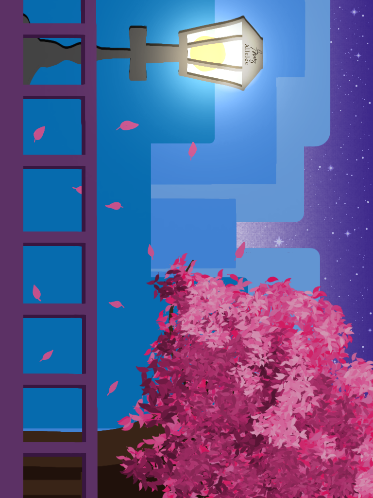 Sakura tree Illust of Allelee zen try starry_sky Tokyo cherryblossom SakuraFlower