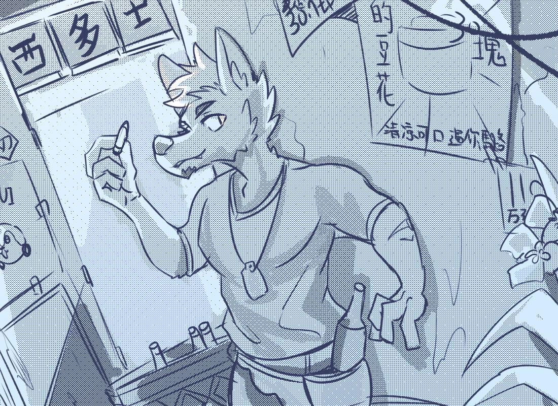 市場 Illust of 肯尼吉 May2021_Monochrome 獸人 background furry