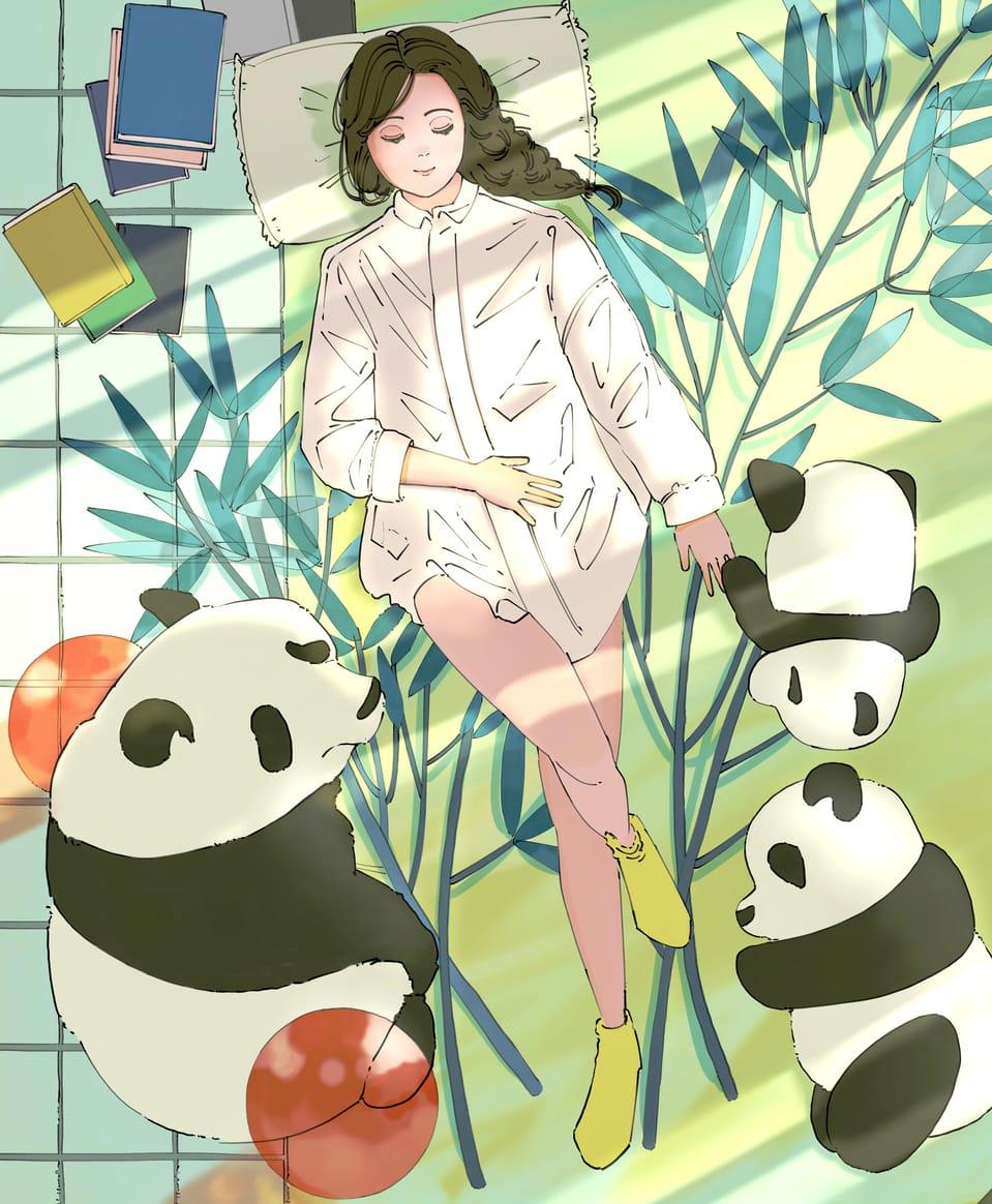 微睡み Illust of ゆかもり original animal oc girl