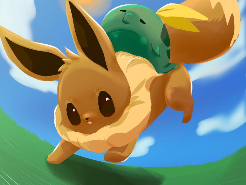 イーブイとゴクリン Illust of hmk medibangpaint Eevee ゴクリン pokemon