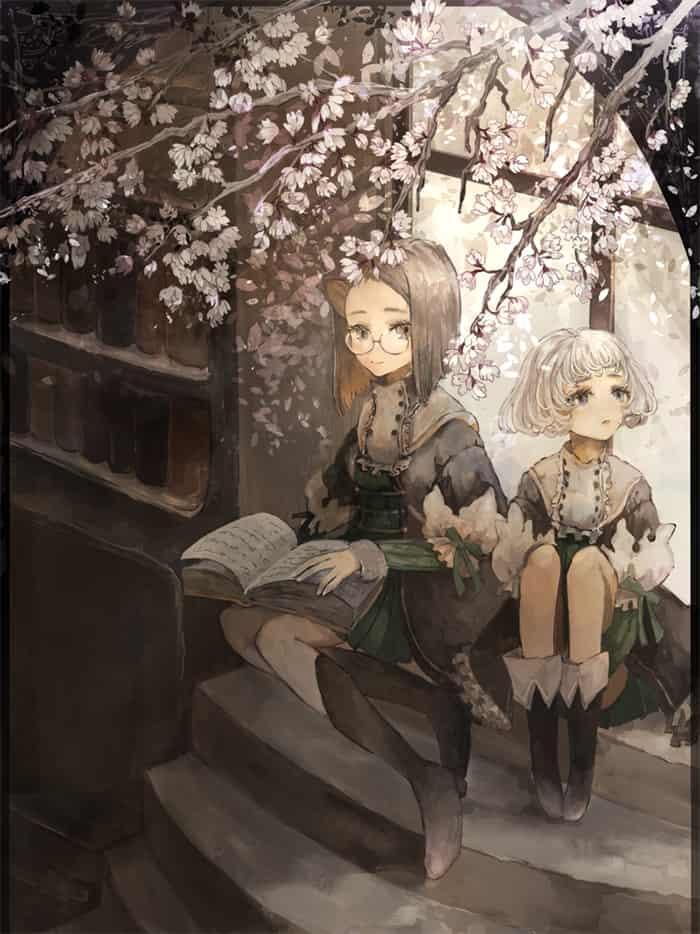 桜が見える図書室 Illust of あり sakura 本 glasses girl original