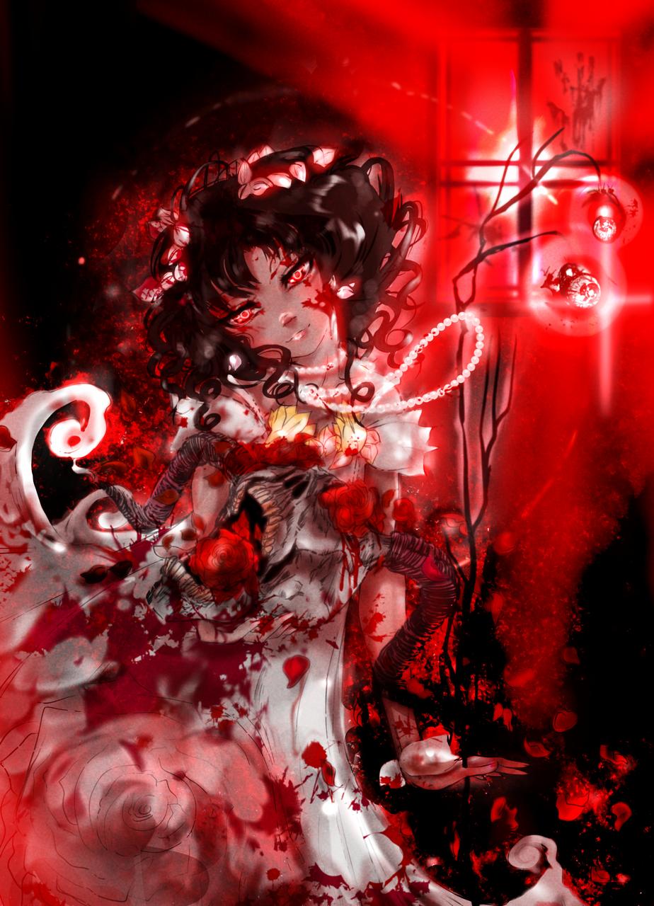 Thru Vermillion Eyes [Final] Illust of 33 fantasy horror August2020_Contest:Horror oc Spooky blood horns dark roses Halloween gore