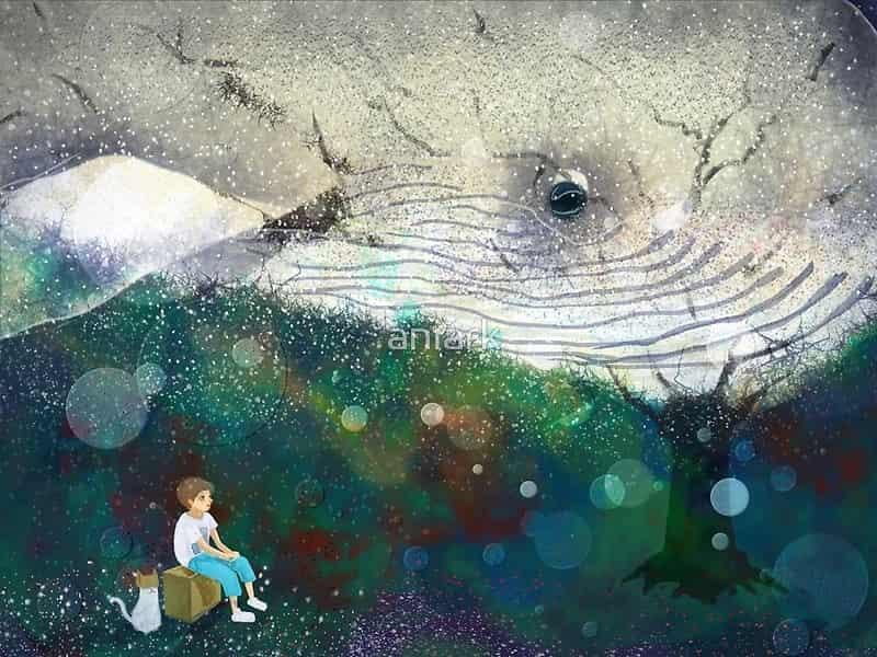 Under the Starry Night Illust of aNiark kyoto-illust2019 Jul.2019Contest starry_sky 旅行 journey star 鯨 space aniark whale night