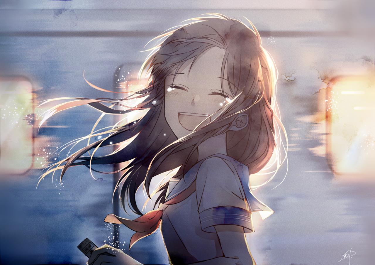 「またね」 Illust of 遥川遊 original girl train sailor_uniform medibangpaint uniform schooluniform tears