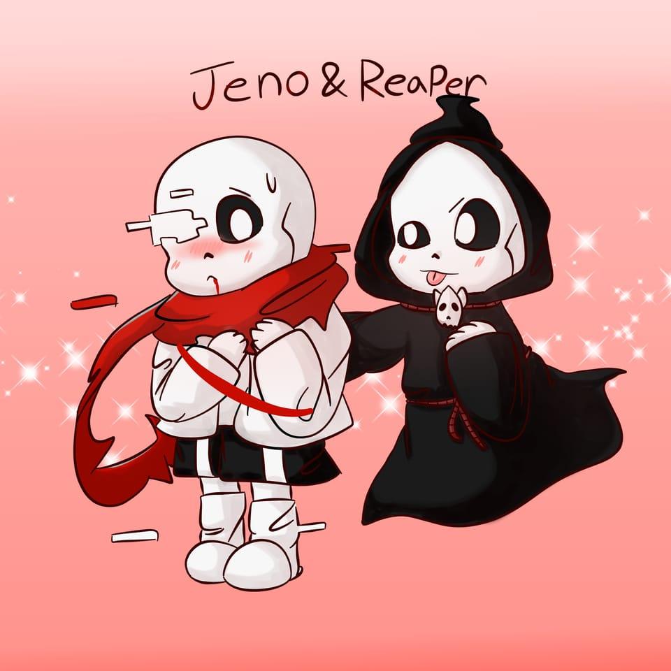 Jeno&Reaper Illust of Ledi_=) undertale AU reaper Skeleton jeno