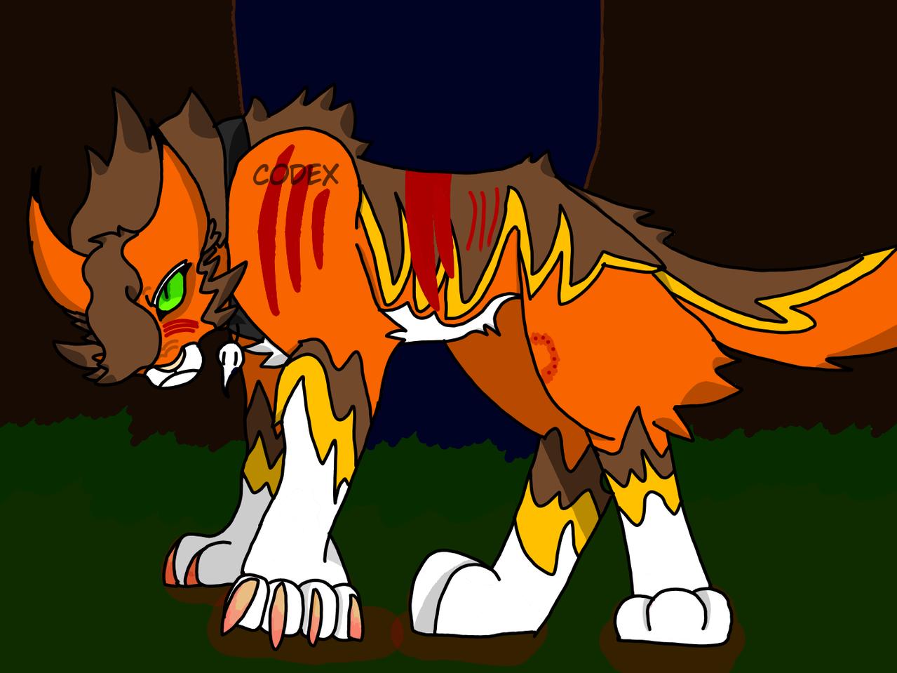 'Still standing' Illust of HeadHonchoCodex medibangpaint HeadHonchoCodex cat villain warriorcats oc dark Emo Warriors furry