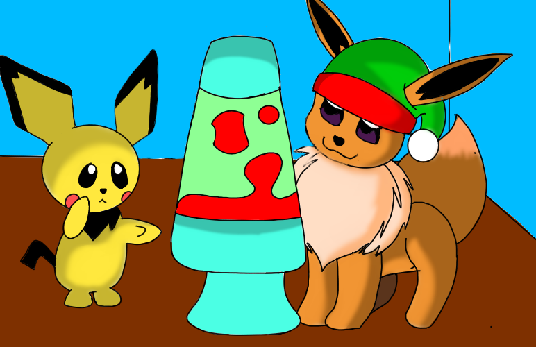 Christmas Eevee.Pichu And Eevee Christmas Tiger Illustrations Art