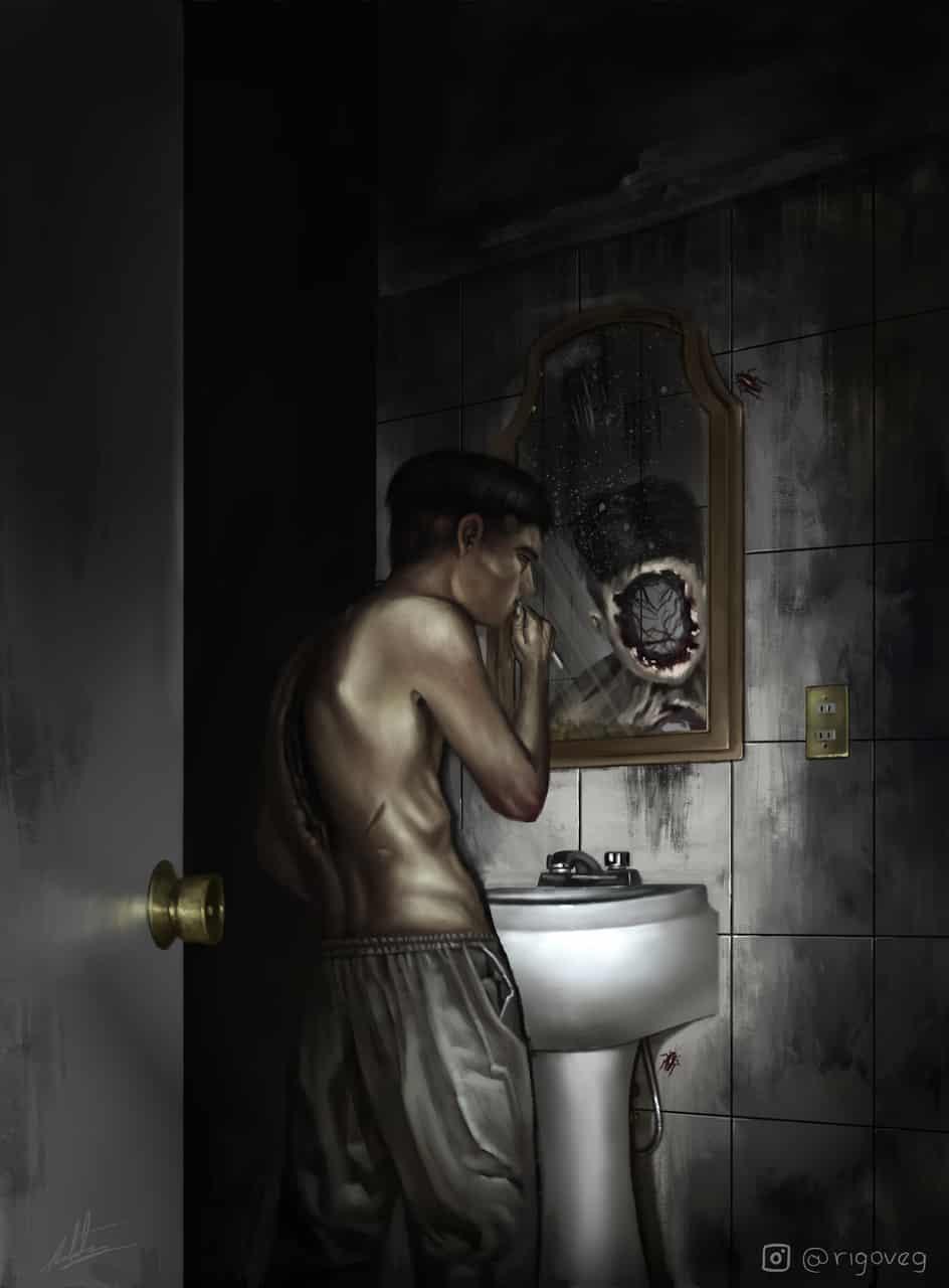 Empty Illust of rigo horror August2020_Contest:Horror Spooky illustration