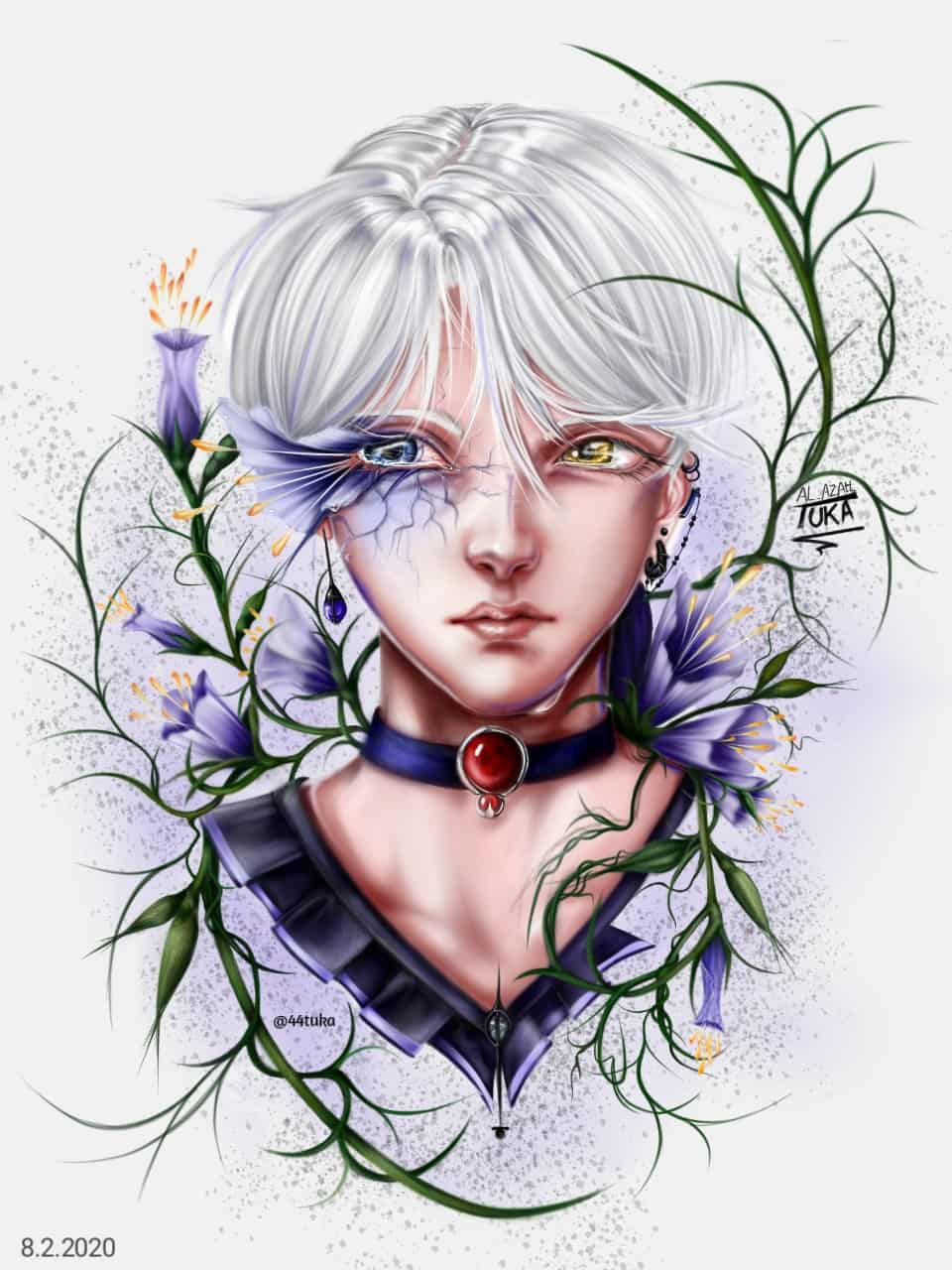 Flower boy  Illust of TUKA sad anime animeartstyle flowers medibangpaint animeboy