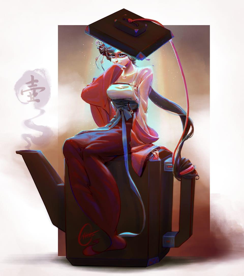 Teapot Spirit/ 壺神 Illust of Outter's Space February2021_Fantasy digital girl fantasyart spirit oc illustration teapot tea color