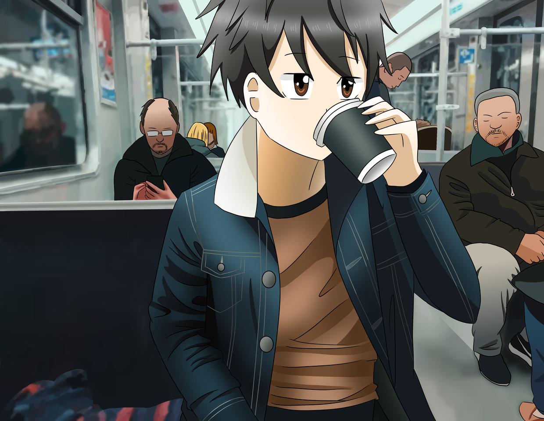 Coffee on the Subway Illust of Audrey medibangpaint