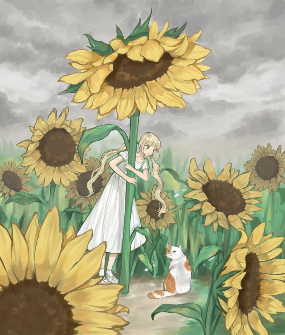 Sunflowers, a girl, and a kitty Illust of ドドドミノ ❥ rain cat umbrella flower ponytail summer sunflower 美女 green