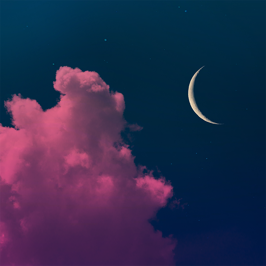 Pink Silent Night Illust of G-Noor fantasy ARTstreet_Ranking sky painting scenery original moon night illustration