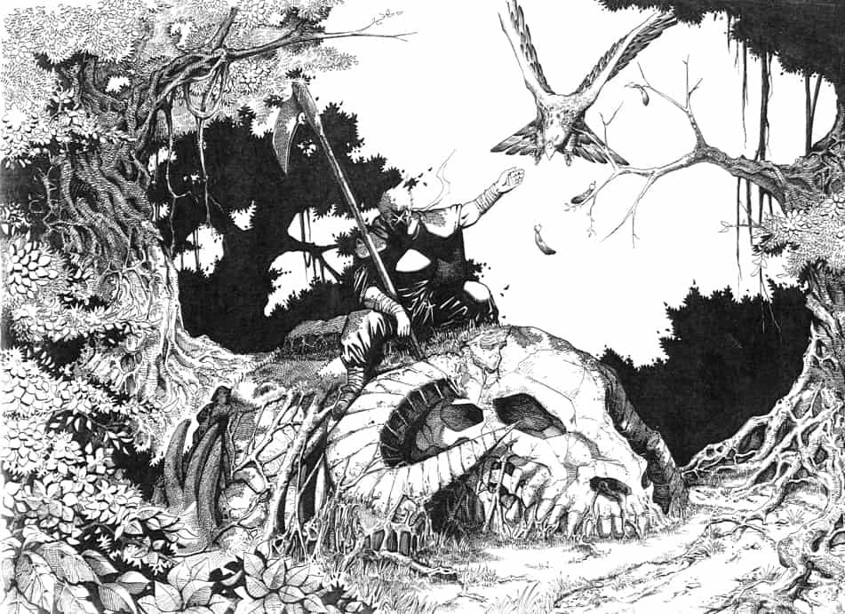 199X年畫來見工用的漫畫圖,雖然順利成為漫畫助手,但在那公司三年都只是最低下的執稿位置.... Illust of 虎三 fantasy birds forest ワシ monochrome 骨