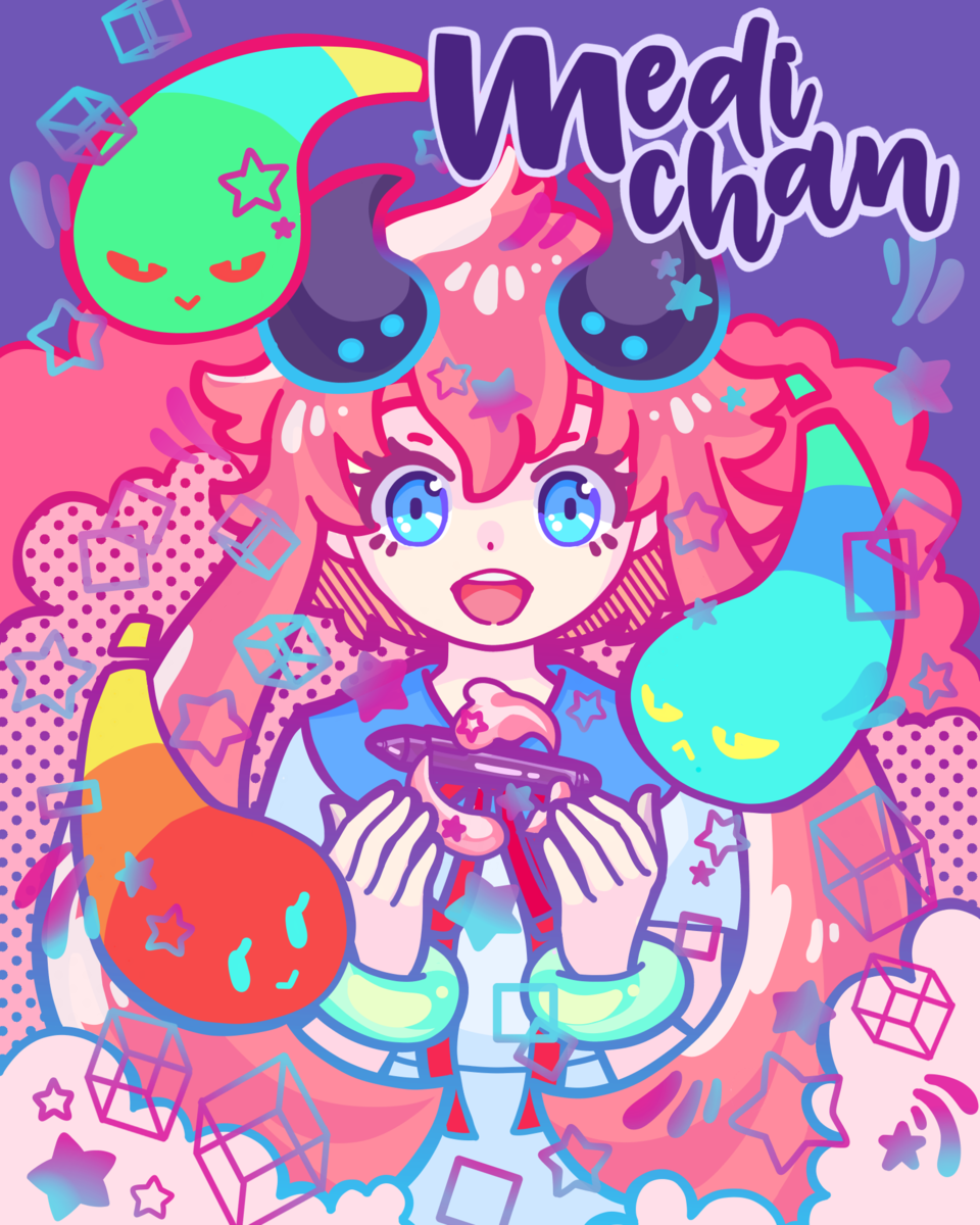 Medi-Chan ( Art Street 6th Anniversary) Illust of Dahvee.chan General_Election_Medi-chan MediBang_General_Election cute girl Pink_Hair Colorful kawaii fanart Lovely Medi-chan