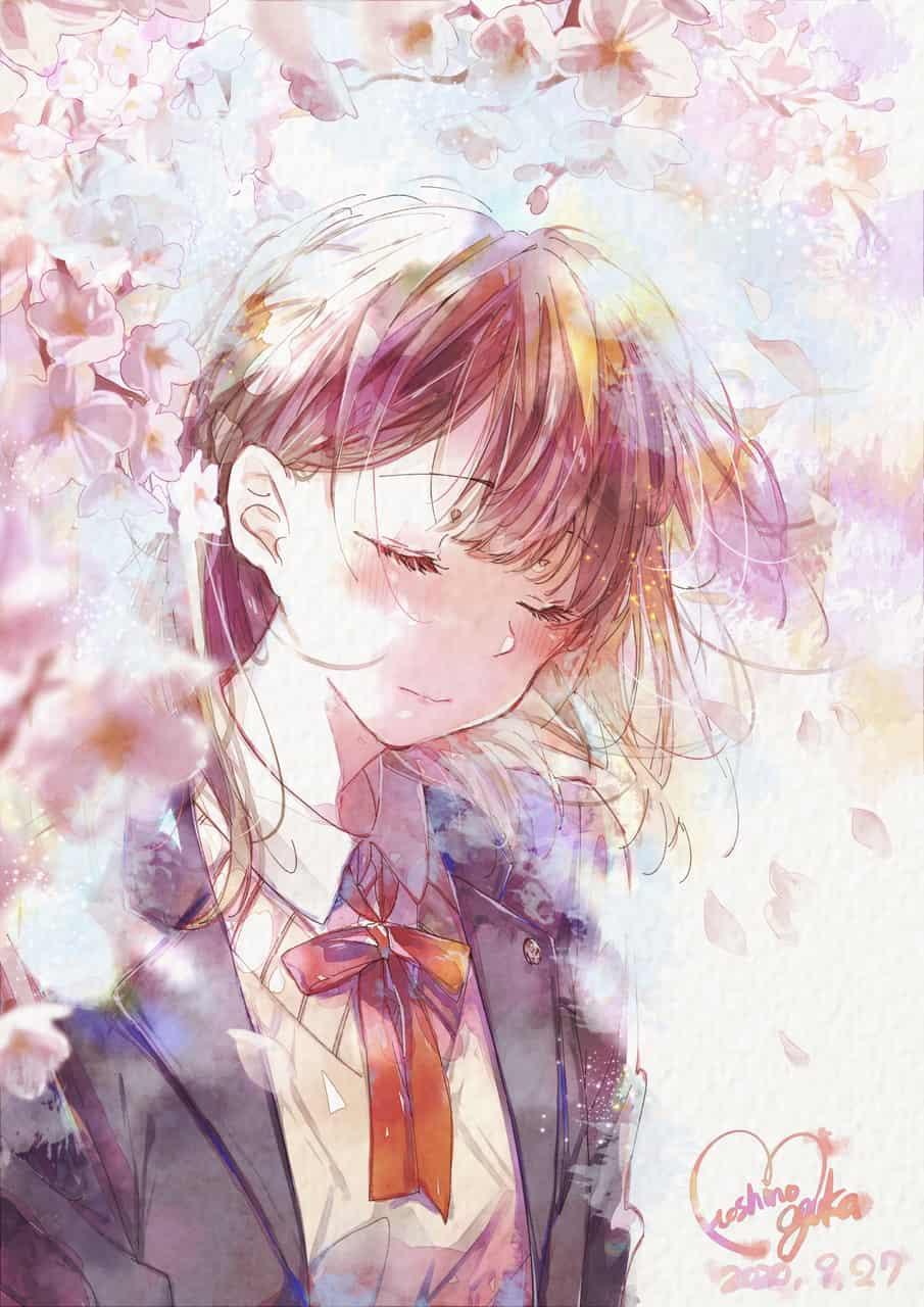 さくら色 Illust of 星野 ゆか@再浮上 January2021_Contest:OC pink girl ribbon 水彩風 original uniform ニット さくら digital