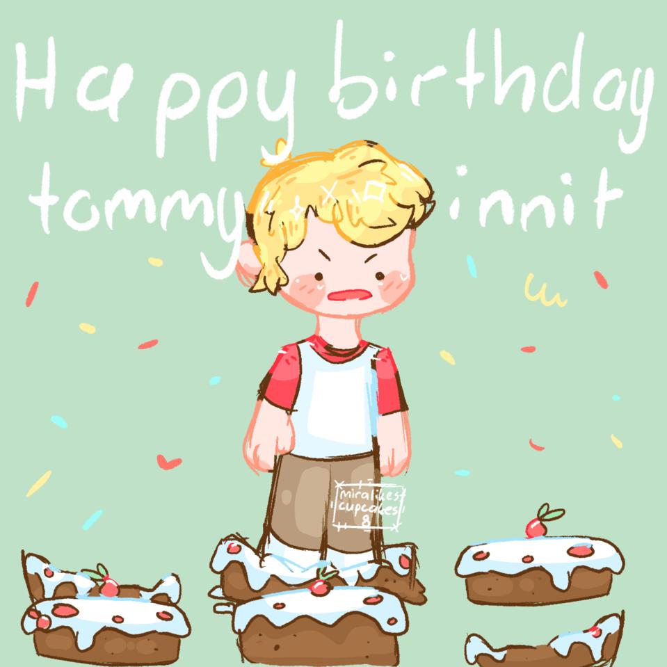Happy birthday Tommyinnit Illust of miralikescupcakes8 :D boy DreamSMP happybirthday cake Tommyinnit