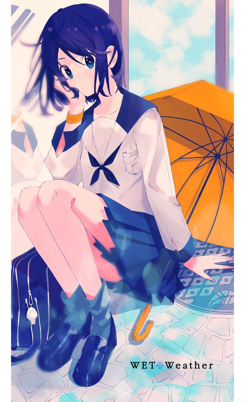 Illust of 721 medibangpaint 女子高生 sailor_uniform girl umbrella