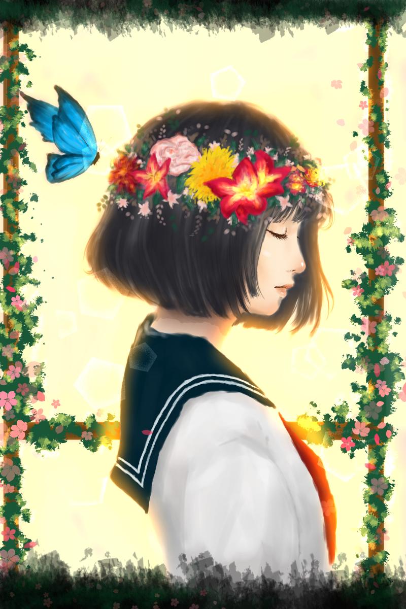 Challenge Illust of Ismerai A medibangpaint blue glow animegirl green anime schoolgirl flowers