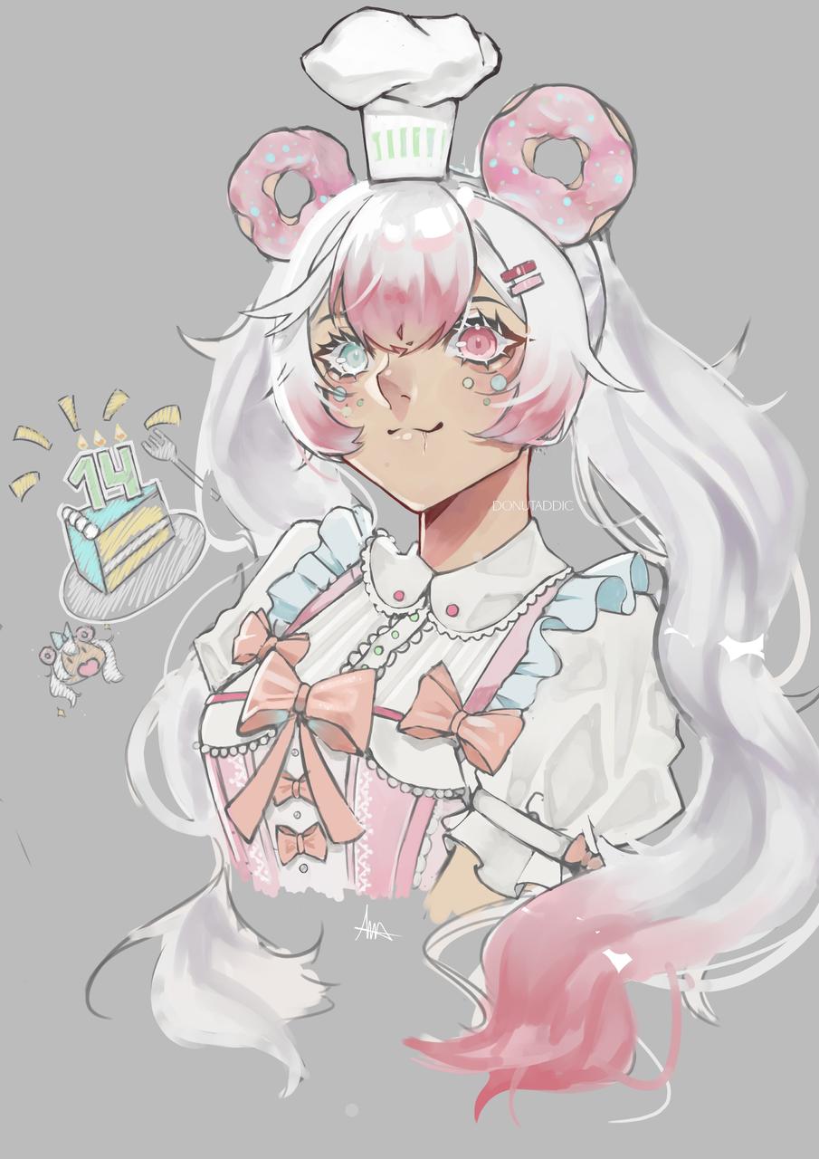 Happy Birthday to me~ Illust of DonutAddic anime painting donut animegirl oc pink birthday kawaii