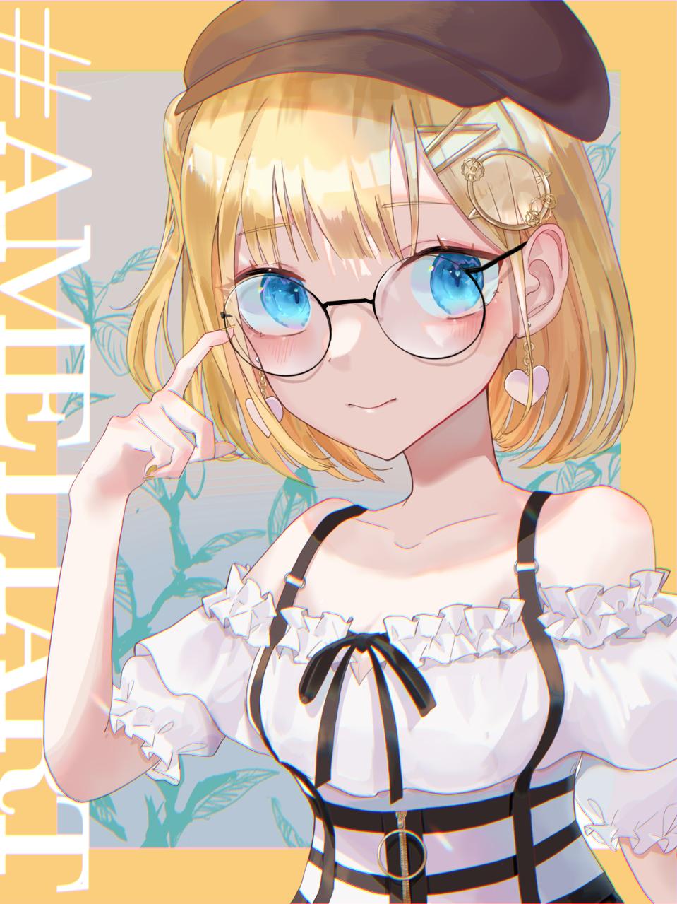 丸メガネ探偵 Illust of ねおん* glasses girl blueeyes illustration fanart virtual_YouTuber blonde