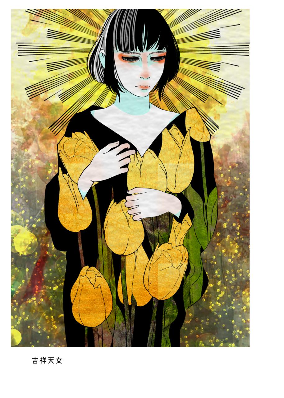 ログ2 Illust of びびり@環八 オリジナルキャラ girl オリジナルキャラクター女の子 flower original アナログ 日本画風 仏像 oc