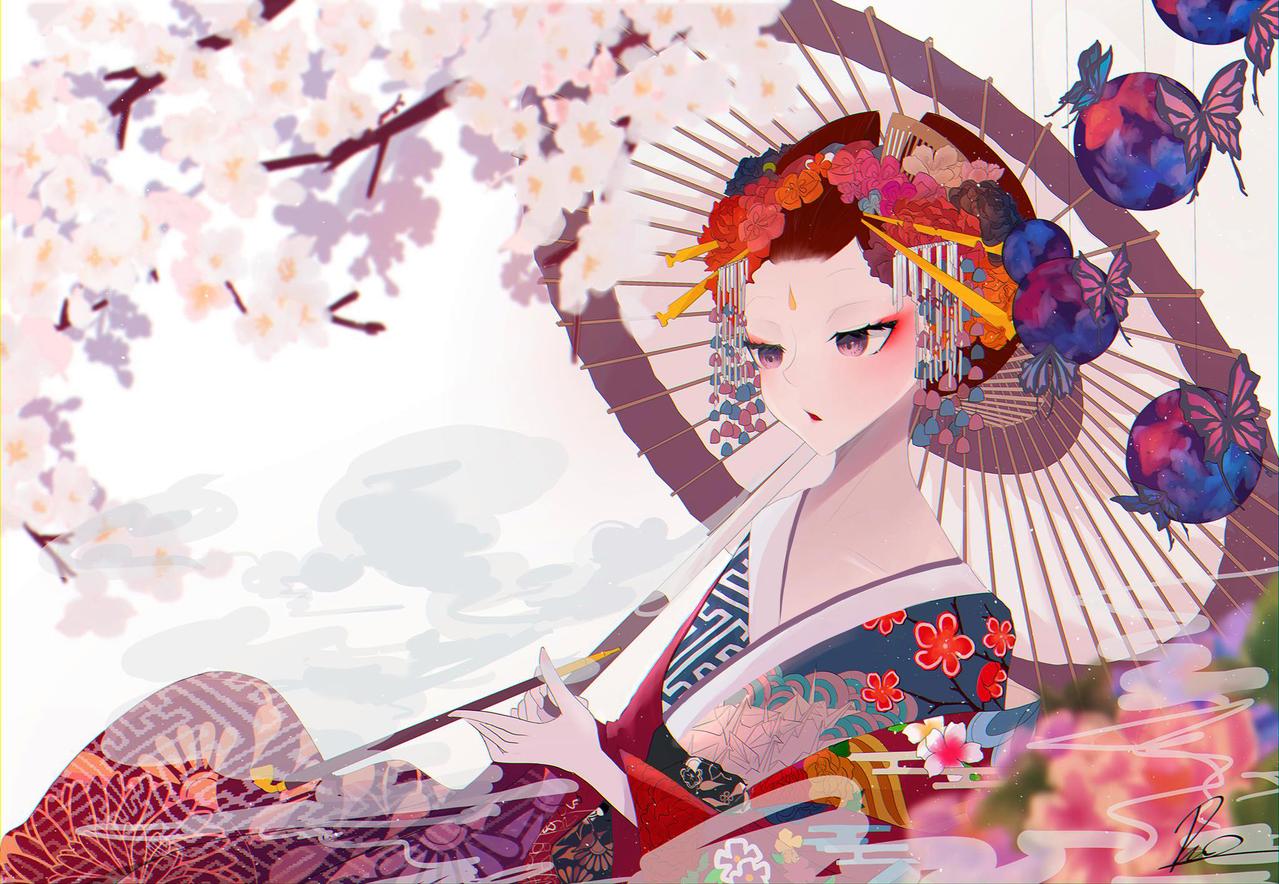 花魁 Illust of _78 Kyoto_Award2020_illustration sakura Pattern kimono 牡丹 original illustration girl fish butterfly 花魁