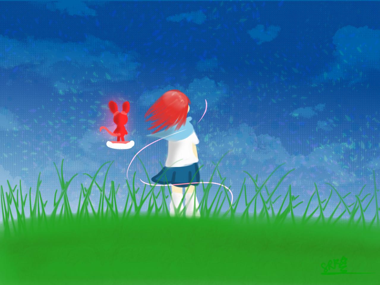 我的祕_密(紅髮女孩)(OTAU) 1 Illust of 神祕的星彩star sky 訓練陰影 魔法 Mysterygirl grass background girl 訓練背景 特效blingbling 自創角色