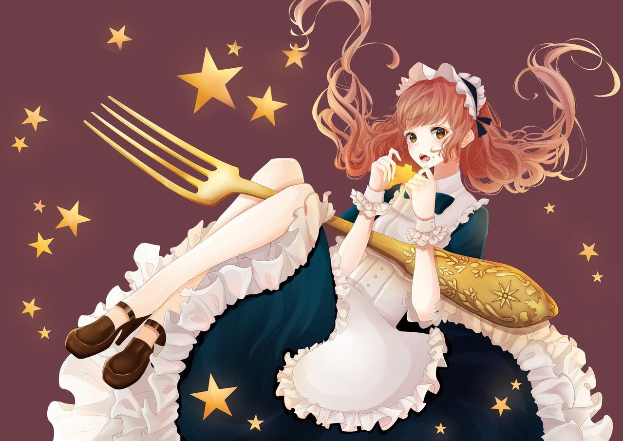 eat star Illust of あけや Original_Illustration_Contest star girl 絵を描くって楽しい! フォーク アンティーク