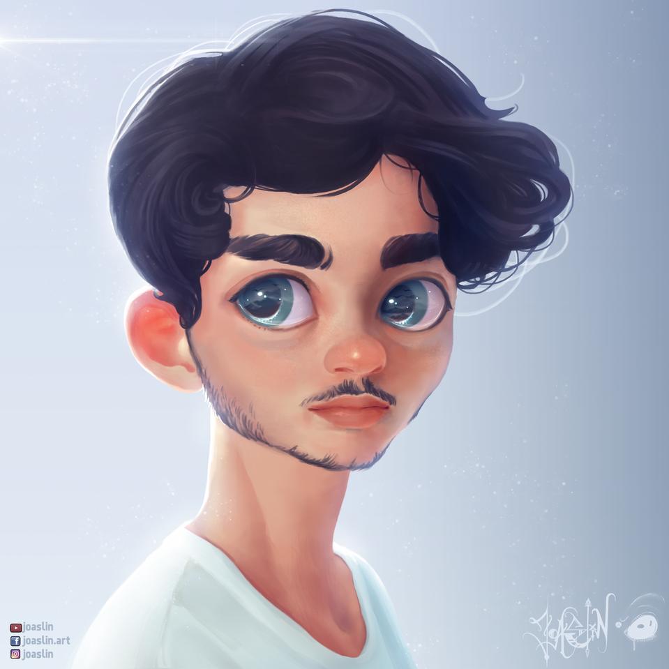 Boy 💙 Illust of JoAsLiN portrait drawing boy fanart cute anime illustration blue digital original art