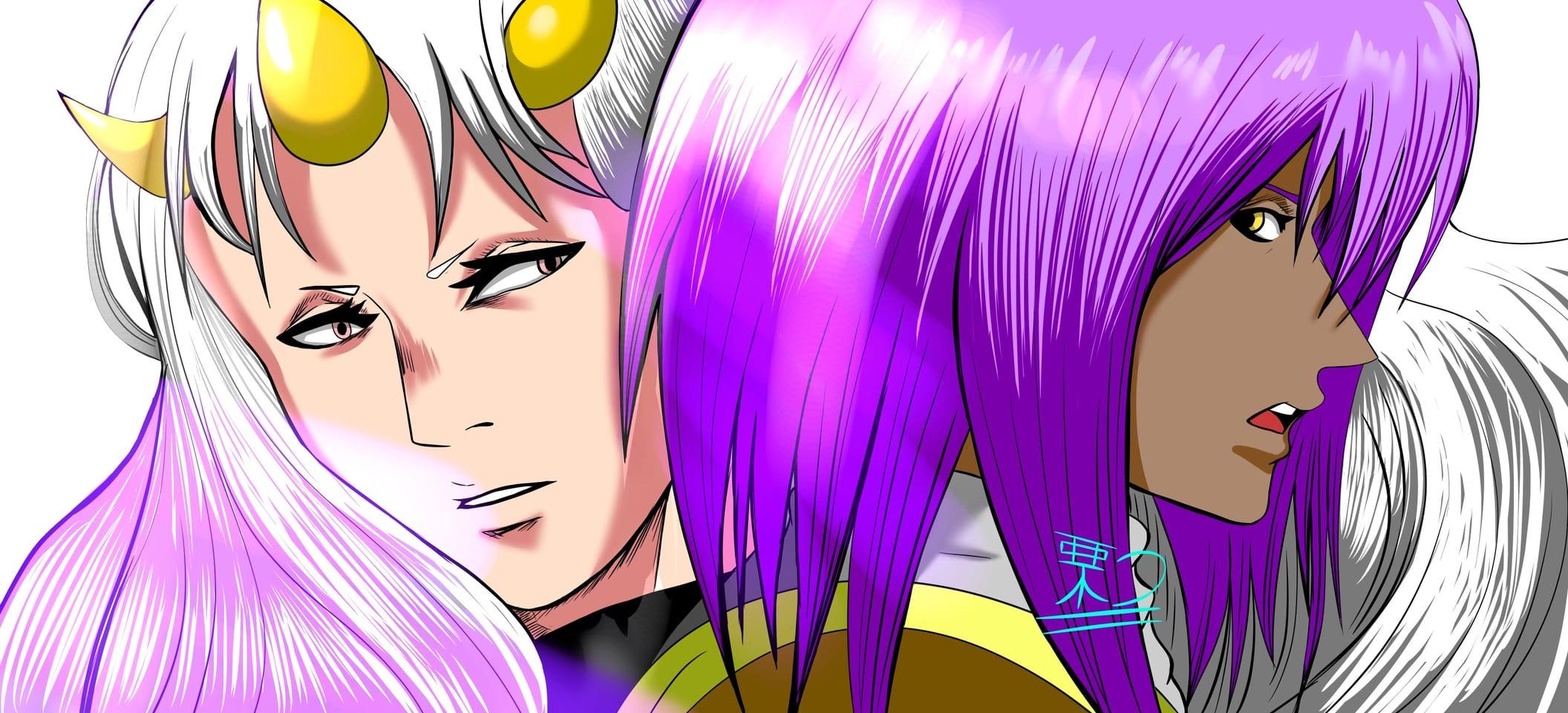 Uncertainty Illust of 栗つ🌰 oc manga villain whitehair medibang male Artwork purple