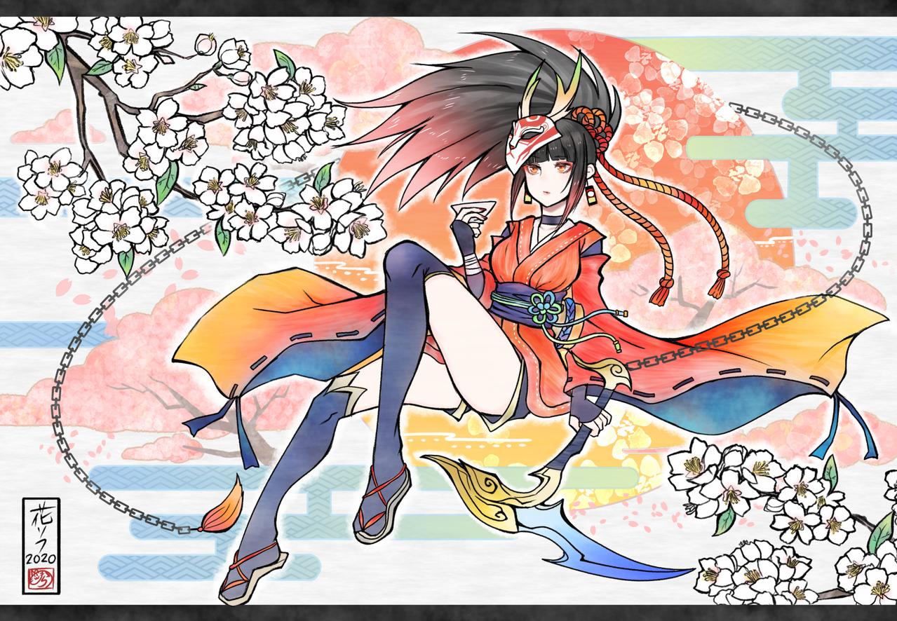 花見酒 Illust of nora sakura kimono LeagueofLegends 春 girl akari