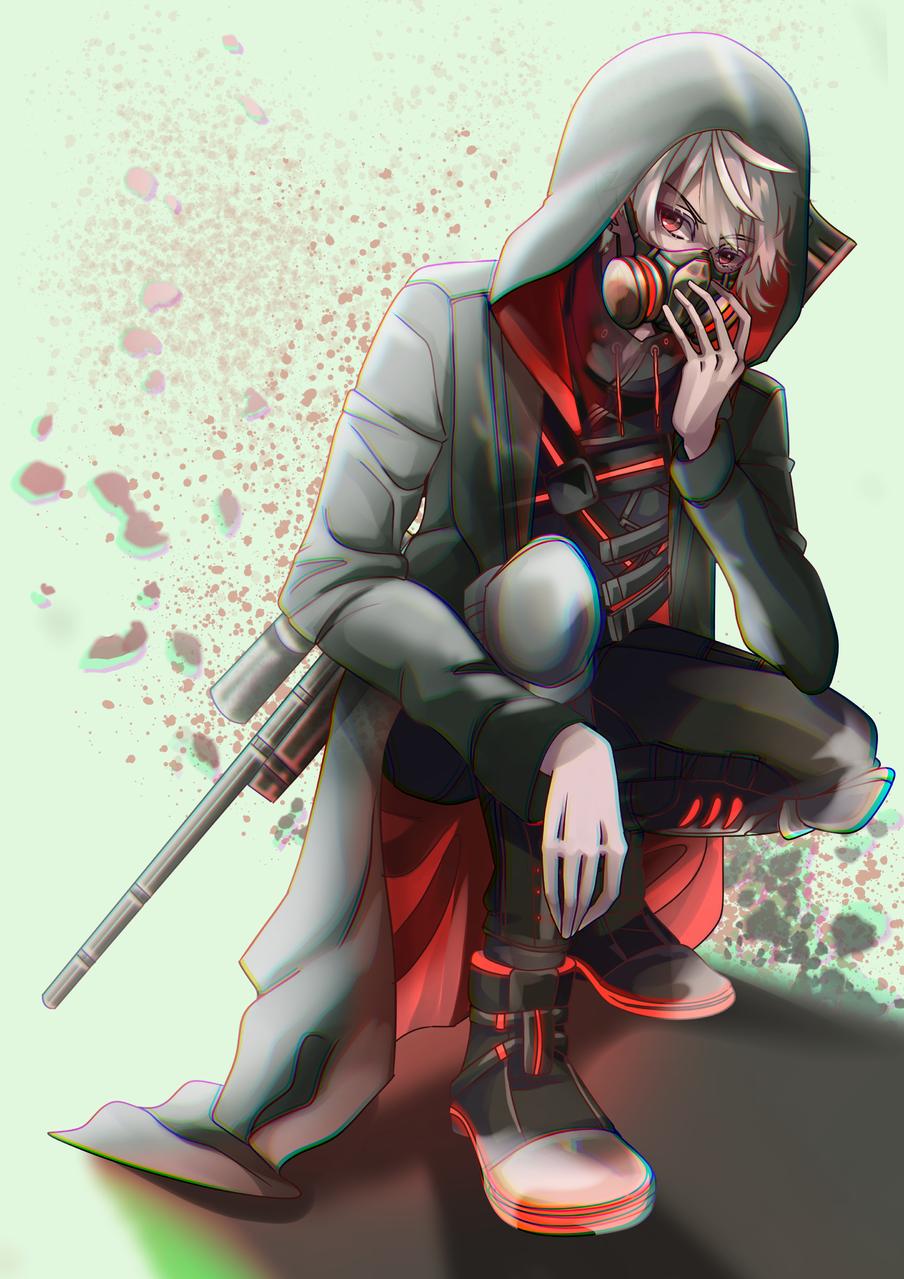 Kuzuha Illust of Akira Luca vampire digital virtual_YouTuber fanart redeyes boy にじさんじ hoodie gasmask whitehair black