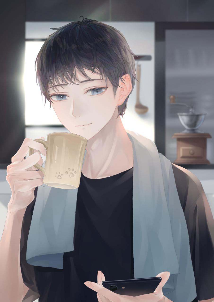 モーニングコーヒー Illust of 稔也 boy glasses 眼鏡男子 original