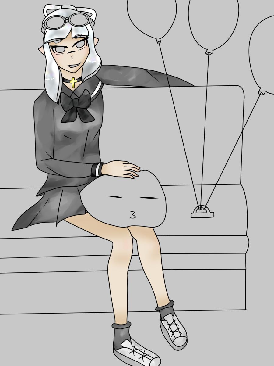 途中 Illust of 天然水(名前変えました) Splatoon girl WIP blackandwhite イカガール
