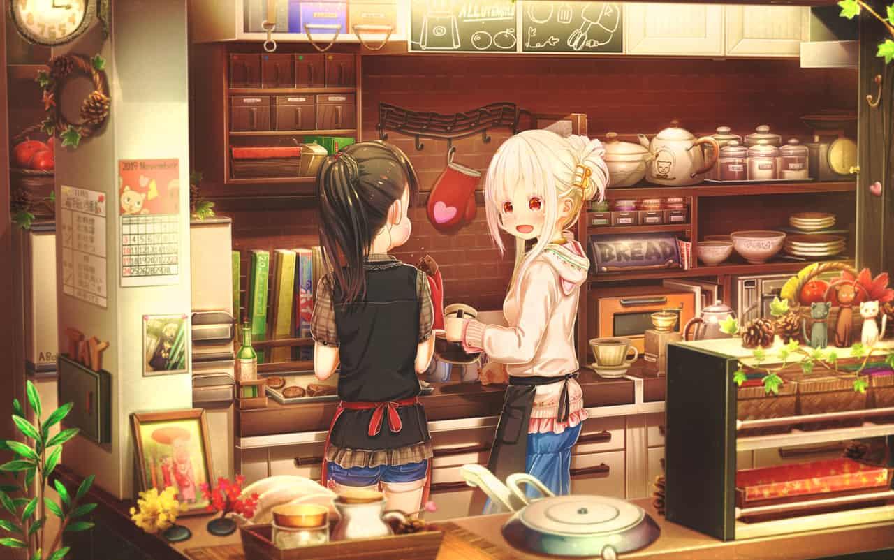 ノーネームデイ Illust of あいうあぼ コーヒー エプロン original girl 姉妹