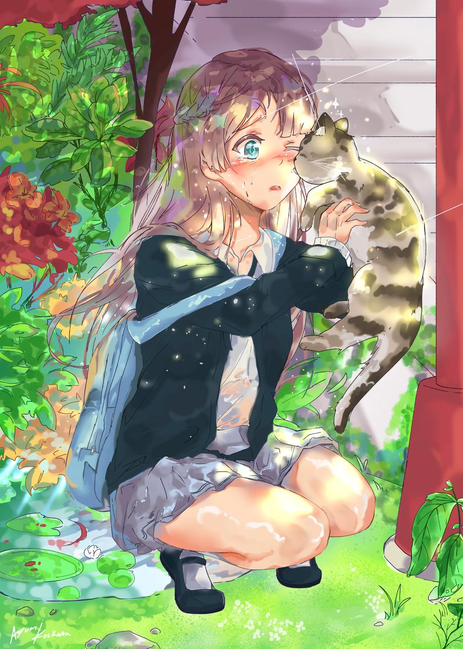 暖かい涙 Illust of Ayumi Koukana DOGvsCAT_CAT cute cat tears flower medibangpaint 可愛い女の子 background girl