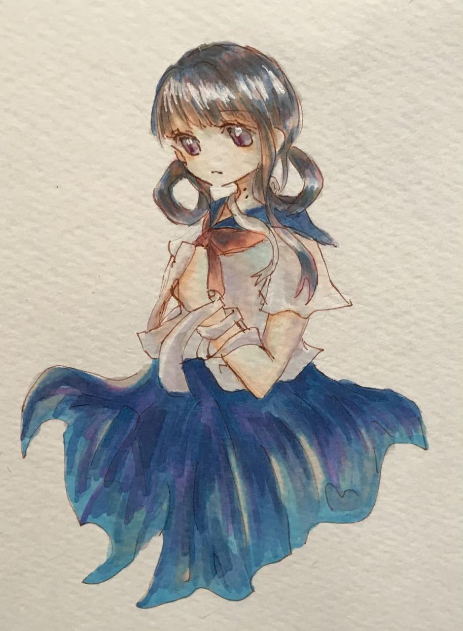 アオちゃん Illust of ねむこ アナログ 赤根葵 girl sailor_uniform おんなのこ illustration fanart Toilet-boundHanako-kun kawaii art