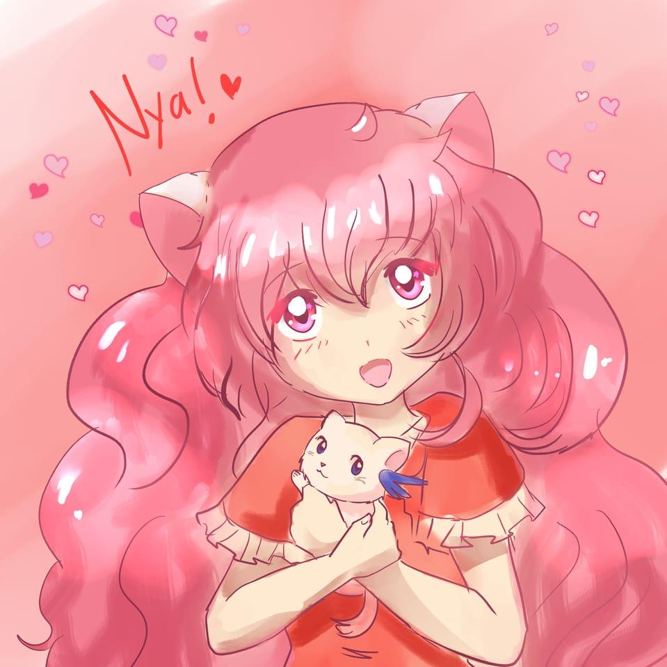 cat Illust of Kuriri Mikiu cat_ears HOUR cat 1HoursDrawing pinkhair magic girl 1hDrawingChallenge chica anime